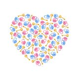 Vector illustration heart of padlocks, keys in heart shape. Greeting invitation card for saint Valentine day, wedding day Stock Image
