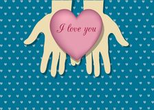 Heart on palms for you vector illustration