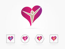 Vector illustration Heart people care logo. People in heart symbol, sign, icon, logo template for charity, health, voluntary, non profit organization, isolated vector illustration