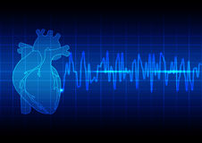 Vector Illustration heart rhythm ekg on blue background technolo Royalty Free Stock Images