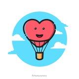 Vector illustration of heart shape air balloon Stock Photography