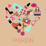 Vector illustration of heart shape glamorous items Royalty Free Stock Photos