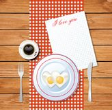 Heart shaped fried eggs on white plate with i love you text. Vector illustration of heart shaped fried eggs on white plate and cup of coffee with heart on red Royalty Free Stock Photo