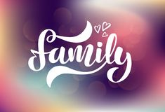 Vector illustration with hearts and handwritten phrase - Family vector illustration