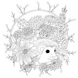 Vector illustration hedgehog with flowers. Coloring book anti stress for adults. Black and white.  Royalty Free Stock Photo