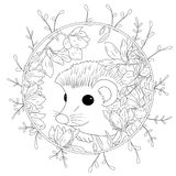 Vector illustration hedgehog with flowers. Coloring book anti stress for adults. Black and white.  Royalty Free Stock Photography