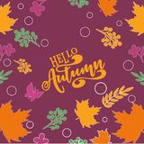 Vector illustration Hello autumn Colorful and vivid composition of text hello autumn and hand-drawn leaves. Calligraphy background Vector Illustration