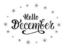 Vector illustration of hello december for typography poster, logotype, flyer, banner, greeting card or postcard. royalty free illustration