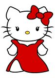 Vector illustration of Hello Kitty with long red dress and red bow isolated on white background, cartoon. Vector illustration of Hello Kitty with red bow on left vector illustration