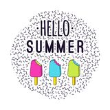 Vector illustration Hello Summer with bitten ice cream. And memphis geometric elements Royalty Free Stock Image