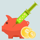 Money Injection. Vector illustration of a helpless piggy bank injected with a syringe containing dollar coins Royalty Free Stock Photo