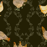 Vector illustration of hens. Use printed materials, signs, items, websites, maps, posters, postcards, packaging Royalty Free Stock Photo