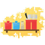 Vector Illustration Herbs and Cutlery. Box Herbs and Cutlery in the Kitchen Wall Vector Illustration