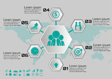 Vector illustration of hexagon part infographic element. for Your Business.  Stock Images