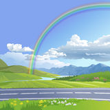 Vector illustration of a hilly landscape. With rainbow Royalty Free Stock Photos