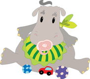 Hippo with toys Stock Image