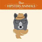 Vector illustration of hipster bear in sweater and Stock Photography