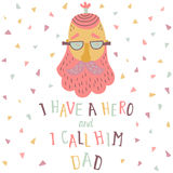 Dad poster. Vector illustration of a hipster dad and hand written text Royalty Free Stock Images