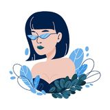 Vector illustration with hipster girl, geek glasses in flat style. Stock Images