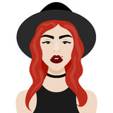 Vector illustration with hipster girl, geek glasses, hat in flat style. Vector illustration with hipster girl, choker, hat in flat style. Website avatar or Stock Images