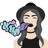 Vector illustration with hipster girl, geek glasses, hat in flat style. Vector illustration with hipster girl making vape cloud with e-cigarette, choker, hat in Stock Photography