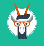 Vector illustration with hipster goat. Flat style vector illustration of hipster goat with glasses Royalty Free Stock Image