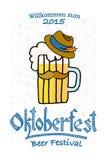 Vector illustration of hipster Oktoberfest logotype Stock Photos