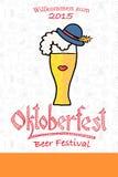 Vector illustration of hipster Oktoberfest logotype Royalty Free Stock Photos
