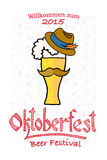 Vector illustration of hipster Oktoberfest logotype Stock Image