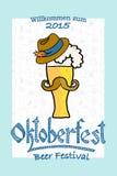 Vector illustration of hipster Oktoberfest logotype Stock Photo