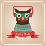 Vector Illustration of Hipster Owl Royalty Free Stock Photography