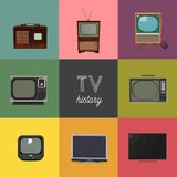 Vector illustration history of television. Tv technology elements collection. retro and modern. decade of tv. home appliances stock illustration
