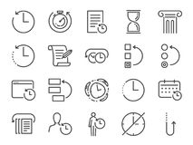History and time management icon set. Included the icons as Anti-Aging, revert, time, reverse, u-turn, time machine, waiting, resc. Vector and illustration stock illustration
