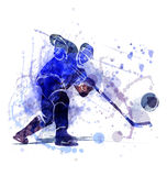 Vector illustration of a hockey player with puck Stock Images