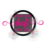 Vector illustration of holi festival of colors banner sale. With lettering text sign in black round shape frame, colorful explosion with grunge rays isolated on Stock Photos