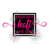 Vector illustration of holi festival of colors banner sale. With lettering text sign in black square shape frame, colorful explosion with grunge rays isolated Royalty Free Stock Image