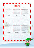 Vector illustration of holiday calendar. Vector illustration of calendar with Santa Claus helper Royalty Free Stock Image