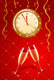 Vector illustration of holiday clock and champagne Royalty Free Stock Photo