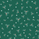 Vector illustration of holly plant pattern Royalty Free Stock Photos