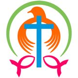 Christian dove with cross  logo. Vector illustration of holy christ dove with cross on white background - suitable for logotype Stock Photos