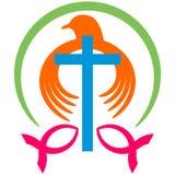 Christian dove with cross  logo Stock Photos