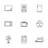 Vector or illustration of home electronics flat line icons set. Royalty Free Stock Images