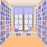 Vector illustration with home library. Storefront with books in flat style stock illustration