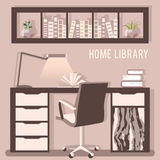 Vector illustration of home library with table, chair, lamp Stock Images