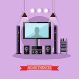 Vector illustration of home theater, modern audio visual system Stock Photography