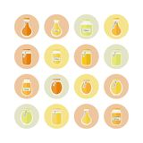 Vector illustration. Honey jars circled icons set Stock Images