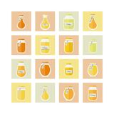 Vector illustration. Honey jars icons set Royalty Free Stock Photography