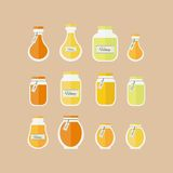 Vector illustration. Honey jars icons set Royalty Free Stock Photos