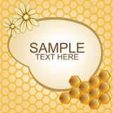 Vector illustration of honeycombs and flowers. Vector background of yellow, beige colour with honeycombs and flowers Royalty Free Stock Photo