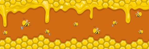Horizontal banner with honeycombs, honey and bees. Bees carry honey in buckets. Vector illustration. Vector illustration. Horizontal banner with honeycombs vector illustration